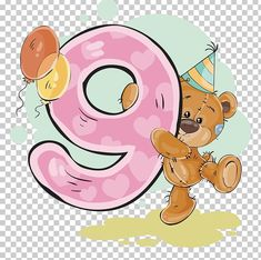 This PNG image was uploaded on January pm by user: gilgameshXVII and is about Arabic Numbers, Art, Balloon, Bear, Cartoon. Happy Birthday, Kids Birthday Cards, Birthday Numbers, Cartoon Cookie, Cute Cartoon, Kids Cards, Baby Cards, Tatty Teddy, Teddy Bear