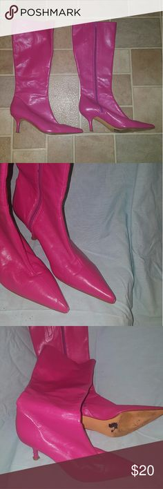 Bubblegum pink leather calf boots Aldo leather, kitten heels, lined Aldo Shoes Heeled Boots