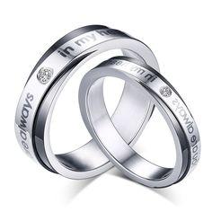 Free Engraving New Pair Wedding ring Titanium Steel Couple Promise Rings Allways