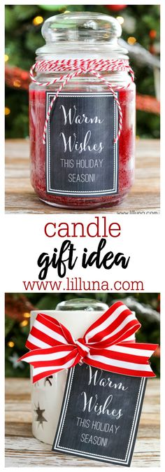 CUTE candle gift idea with free tags. Simple and inexpensive too! Christmas Candles, Christmas Gift Tags, Holiday Gifts, Christmas Crafts, Christmas Decorations, Xmas, Cute Candles, Cheap Gifts, Practical Gifts