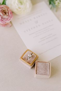 Dessa and Stephen's blush and gold wedding at Prospect House | Julie Wilhite Photography | Austin Wedding Photographer  #austinwedding #austinweddingphotographer #prospecthouse #36thstevents Cream Wedding, Gold Wedding, Wedding Reception, Velvet Ring Box, Beautiful Wedding Rings, Wedding Ring Box, Engagement Couple, Engagement Rings, Engagement Inspiration
