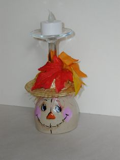 Scarecrow Crafts Wine Glass Candle Holder in Thanksgiv - Wine Bottle Crafts . Wine Glass Crafts, Wine Craft, Wine Bottle Crafts, Jar Crafts, Wine Bottles, Autumn Crafts, Thanksgiving Crafts, Holiday Crafts, Scarecrow Crafts