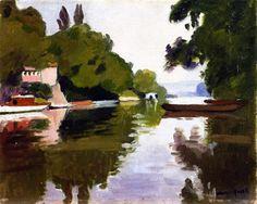 'La Marne à Chennevières', huile sur panneau de Albert Marquet (1875-1947, France)