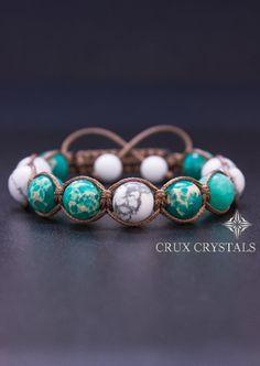 Shamballa Bracelet Emperor's Power, Natural Stone, Beaded Bracelet, Macrame, Wrap Bracelet, Howlite Bracelet, Energy Bracelet