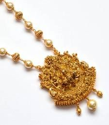 Buy Anvi's lakshmi pendent (temple jewellery) with gold beads and pearl chain Pendant online