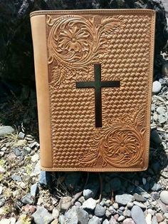 Hand carved leather bible cover by Tim Alden