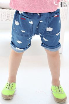 Clouds Print Denim Shorts for unisex kids fashion at colormewhimsy