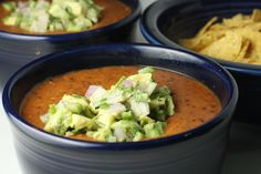 Kidney Bean Soup with Guacamole Topping