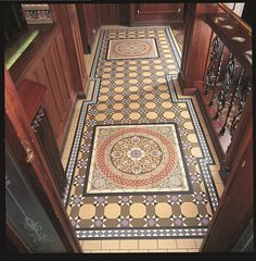 Victorian Floor Tiles - here the Inverlochy pattern incorporates the Palmerston tile set. Made up of 36 intricately detailed tiles, this certainly makes a statement.