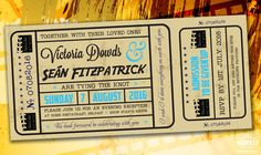 vintage movie cinema ticket wedding invitations http://www.wedfest.co/cinema-and-movie-themed-wedding-stationery/