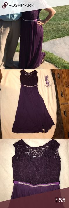 David's Bridal Plum Long Lace Dress with Slit Worn once in great shape & dry cleaned! Armpit to armpit approx 17 inches; sleeve is approx 5.5 inch opening; underarm to hem approx 47 inches long/ David's Bridal Dresses