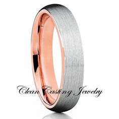 6mm,Rose Gold,Tungsten Ring,Brushed Style,Comfort Fit - Clean Casting Jewelry