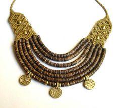 Cadena del collar macrame tribales étnicas con coco por MagicKnots