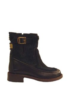 CHANEL Leather & Fur Gusset Ankle Boots , Navy & Dark Green