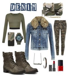 """""""Denim Trend: Jean Jackets"""" by rossie-rz ❤ liked on Polyvore featuring ONLY, Patrizia Pepe, Cobb Hill, Valentino, KYBOE!, Casetify, Burberry and NARS Cosmetics"""