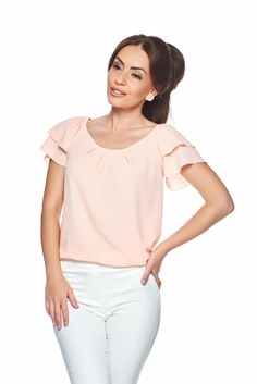 LaDonna Summer Color Peach Blouse, slightly transparent fabric, voile fabric, frilly sleeves