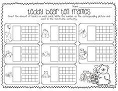Teddy Bear Ten Frames // Ten frames with numbers Preschool Math, Math Classroom, Kindergarten Classroom, Fun Math, Teaching Math, Math Activities, Maths, Teen Numbers, Math Numbers