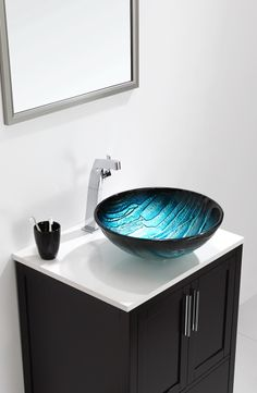 Kraus 17 Inch Ladon Glass Vessel Sink with 6 Inch Bowl Depth, Ladon Ice-Blue Tones, Inch Thick Glass and 1 Inch Drain Opening Glass Vessel, Small Sink, Modern Bathroom, Sink Inspiration, Trendy Bathroom, Sink Design, Modern Bathroom Sink, Bathroom Sink Bowls, Sink