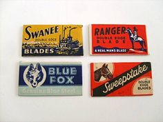 Vintage Safety Razor Blade LOT - 10 Different Brands in Wrappers ~Great Graphics