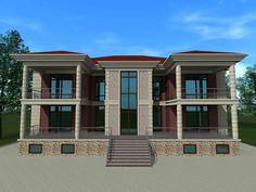 Проект двухэтажного загородного особняка. Фасад со стороны участка. Выполнен мною на заказ.