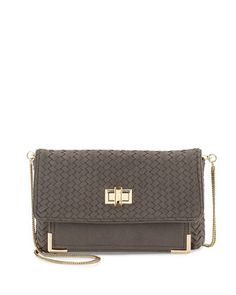Suede Chevron Woven Clutch, Gray  by Neiman Marcus at Neiman Marcus Last Call.