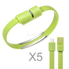 Wearable Bracelet Style USB to Micro USB Charge & Sync Cable(5pcs/lot) - Green.      USB Type A Male to USB Micro-B Male: ideal for charging Android phones and tablets or Windows-based devices.     Fast charging and sync speed: up to 480Mbps ultra-fast transfer rate.     Environmentally Friendly: made of TPE material, with great skin feel when the bracelet on your wrist.     Firmly welding: its 2 ends can be buckled firmly, no need to worry about slip away.