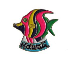 """HAWAII STATE vintage lapel cloisonne enamel pin landscape Tropical Fish by VintageTrafficUSA  18.00 USD  A vintage Hawaii state pin! Excellent condition. Measures: approx 1"""" 20 years old hard to find vintage high-quality cloisonne lapel/pin. Beautiful die struck metal pin with colored glass enamel filling. Add inspiration to your handbag tie jacket backpack hat or wall. Have some individuality = some flair! -------------------------------------------- SECOND ITEM SHIPS FREE IN USA!!! LOW…"""