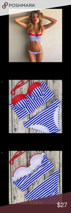 BRAND NEW SEXY BLUE AND WHITE STRIPED SWIMSUIT Brand New in the Package Very Sexy Bikini. Blue and White Striped Bandeau Push Up Bra. Size M. Swim Bikinis