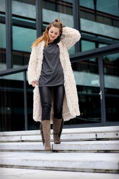 fuzzy cardigan, long fuzzy cardigan, oversized t-shirt, fringe boots, statement…