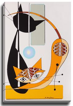 Cat D by Dominic Bourbeau Graphic Art on Wrapped Canvas