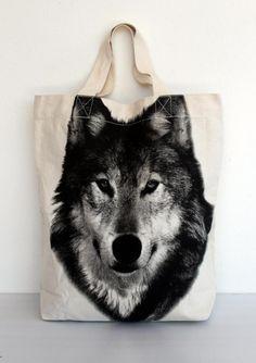Wolf Canvas Bag tote bag Diaper bag Shopping bag Document bag Market Bag.. $19.99, via Etsy.