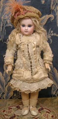 """Rarest of the Rare 17"""" Early Almond-Eyed Portrait Jumeau Antique Doll from kathylibratysantiques on Ruby Lane"""