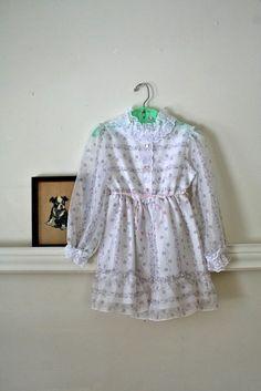 vintage little girl's dress  WILD FLOWER white nylon & by MsTips, $14.00