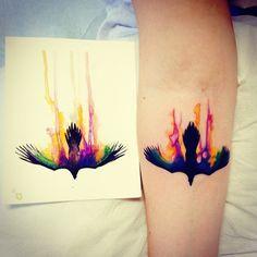 Watercolor raven by Tarah #tattoo #twobirdstattoo #watercolor #femaletattoist by tarahpennington