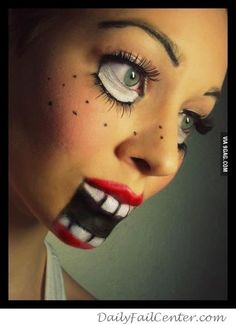 Creepy doll makeup - if I'm ever asked to a Halloween party...