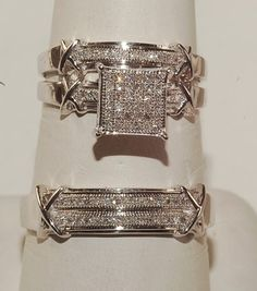 LOVE THIS!    Men and Ladies Diamond Trio Set Wedding Engagement Rings His and Her Jewelry | eBay