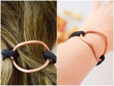 Curved copper hair cuff with elastic cord, copper bracelet, ponytail holder, simple copper hair accessory, bun pin,hair holder, hair jewelry by TheLittleLab on Etsy