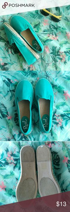 Teal Espadrilles! I LOVE these shoes but the run narrow and I have a wide foot so I'm forced to sell them :(  They are super cute with a gorgeous color! They do fit true to size but I don't recommend if you have a wide foot! Basically brand new! I got them from another posher so I'm not sure how often they were worn but they look in great condition! revel Shoes Espadrilles