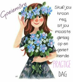 Goeie More, Good Morning Wishes, Funny Stickers, Afrikaans, Disney Characters, Fictional Characters, Crochet Hats, Teddy Bear, Disney Princess