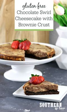 Easy Gluten Free Chocolate Swirl Baked Cheesecake Recipe with Brownie Crust - Chocoholics pay attention, this is the cheesecake for you! Rich and creamy, this New York style easy baked cheesecake recipe is foolproof and perfect for dinner parties or the ultimate birthday cake. The brownie base and chocolate and vanilla swirl toppings are the perfect mix for this gluten free dessert. Cottage cheese and greek yogurt add protein and help to make this dessert a healthier one.