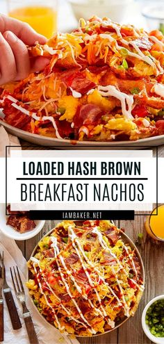 Loaded Hash Brown Breakfast Nachos will bring your breakfast to new heights! Hash Brown Waffles are piled high with bacon, eggs, cheese and more! Breakfast Nachos, Breakfast Casserole, Savory Breakfast, Hash Brown Patties, Pulled Pork Nachos, Cheesy Hashbrowns, How To Make Breakfast, Brunch Recipes, Breakfast Recipes