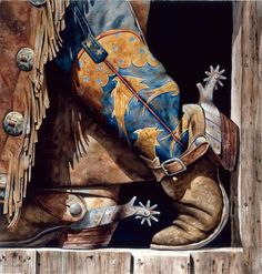 Cowboy Fish'n Boots by Nelson Boren - American West Gallery Cowboys Sexy, Rodeo Cowboys, Cowboys And Indians, Real Cowboys, Cowboy Gear, Cowboy And Cowgirl, Cowgirl Style, Cowgirl Boots, Vintage Cowgirl