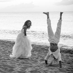 This groom is literally head over heels in love with his bride.Related: 70…