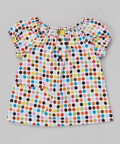 Love this White & Pink Polka Dot Peasant Top - Toddler & Girls on #zulily! #zulilyfinds