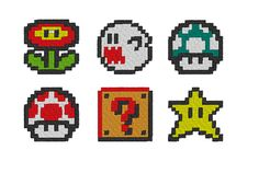 6 Nintendo Pixel Art Embroidery Patterns by OCDEmbroidery on Etsy, $15.50