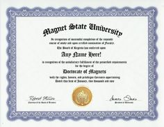 Magnet Magnets Degree: Custom Gag Diploma Doctorate Certificate (Funny Customized Joke Gift - Novelty Item) by GD Novelty Items. $13.99. One customized novelty certificate (8.5 x 11 inch) printed on premium certificate paper with official border. Includes embossed Gold Seal on certificate. Custom produced with your own personalized information: Any name and any date you choose.