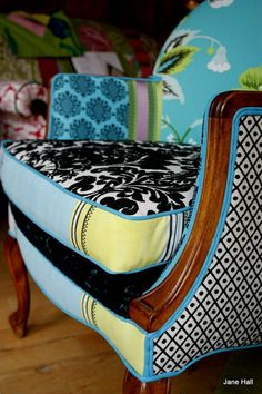 multi fabric upholstered chairs; too crazy for me, but I admire the creativity