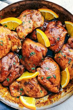 Looking for recipes and ideas for weeknight dinners and meals featuring budget friendly chicken thighs? Try this sweet and savory stovetop meal. You'll need orange (Skillet Chicken Meals) Orange Glazed Chicken, Honey Chicken, Glaze For Chicken, Chicken Curry, Cooking Recipes, Healthy Recipes, Cooking Tips, Chicken Thigh Recipes, Skillet Chicken