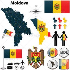 Map of Moldova Vector of Moldova set with detailed country shape with region borders, flags and icons. Package contains: EPS version), JPG pixels, RGB). Created: GraphicsFilesIncluded: VectorEPS Layered: No MinimumAdobeCSVersion: CS Tags: administrative # Language Logo, Snowflake Template, Kids Study, Map Vector, Moldova, Cartography, Geography, Flag, Symbols