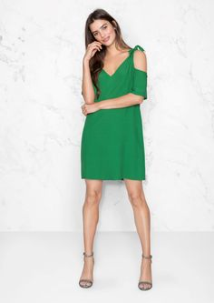 2de170aa4c7 Other Stories image 1 of Cold Shoulder Knotted Dress in Green Robe Chic  Mariage